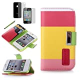 Generic Colorful PU Leather Wallet Type Magnet Design Flip Case Cover for IPhone 4 4G 4S with Screen Protector+ Stylus Reviews