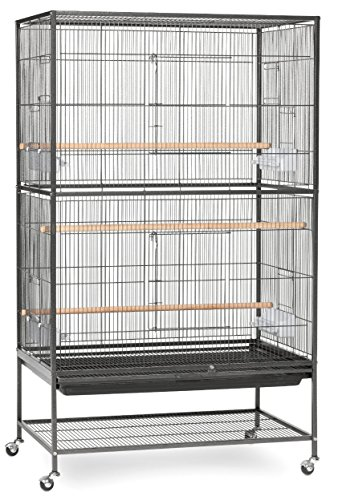 Extra Large Wrought Iron Flight Multiple Parakeets, Canaries, Finches, Sugar Glider Bird Cage 1/2-Inch Wire Spacing With Rolling Stand *Black Vein* (Extra Large Flight Cage compare prices)