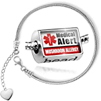 Charm Set Medical Alert Red Mushroom Allergy - Bead comes with Bracelet , Neonblond by NEONBLOND