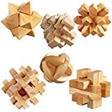 KAILIMENG 3D Wooden Cube Brain Teaser Puzzle, Set of 6
