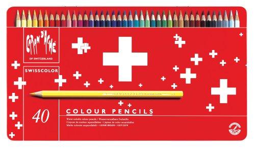 Caran d'Ache - Swisscolor - Scatola in Metallo 40 Matite Colorate Acquerellabili