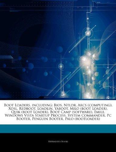 Boot Loaders, including: Bios, Ntldr, Arcs (computing), Xosl, Redboot, Loadlin, Yaboot, Milo (boot Loader), Quik (boot Loader), Boot Camp (software), ... Pc Booter, Penguin Booter, Palo (bootloader)