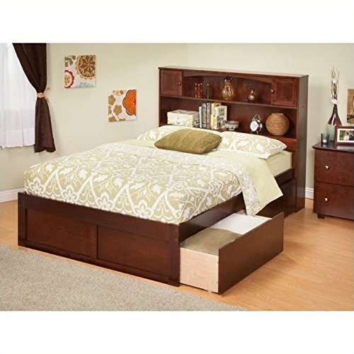 Newport Bookcase Bed with Flat Panel Foot Board and 2 Urban Bed Drawers, Full, Antique Walnut (Full Captains Bed compare prices)