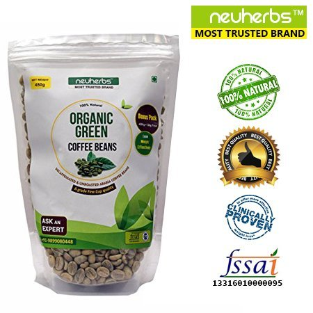 Neuherbs 100% Natural Organic Green Coffee beans Decaffeinated & Unroasted Arabica Coffee Beans with A grade Fine Cup quality. - 200g + 25g Free!