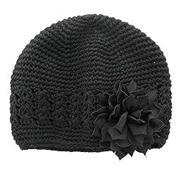 My Lello Infant Baby Girl\'s Crochet Beanie Hat with Flower Black/Black