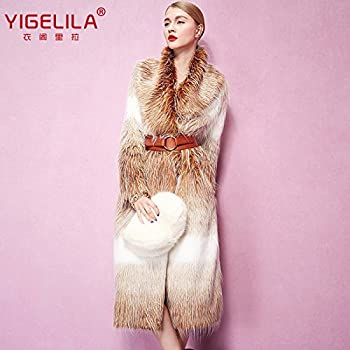 Fashion Women Long Gradient Color Fox Fur Coat Long Sleeve