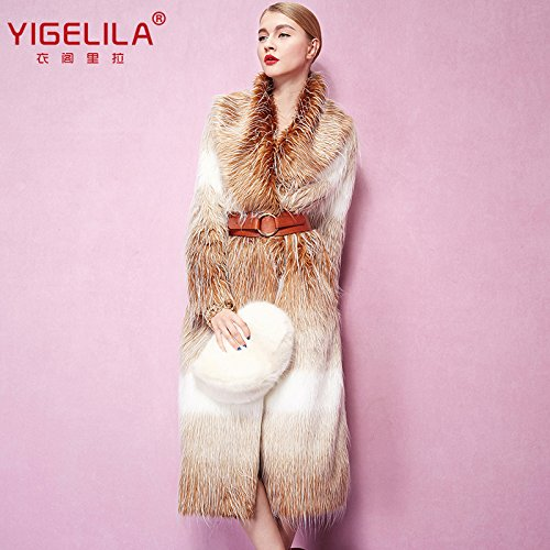 Fashion Women Long Gradient Color Fox Fur Coat Long Sleeve 1