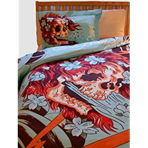 ed hardy skull duvet set with red and white