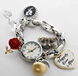 Brand New PN2010 Happily Ever After Princesses Silver Charms Bracelet Quartz Women's Watch IGN