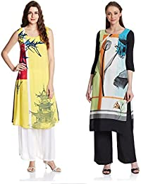 Marmic Fab Women's Pure Crepe Digitally Printed Semi-Stitched Kurtis (combo_kurti_12)(combo_pack_2_ Multicolored)