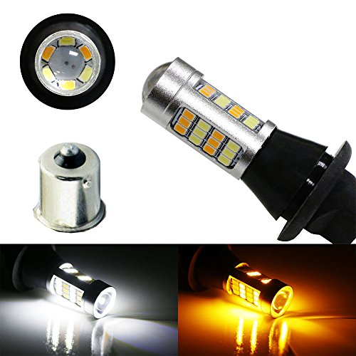 iJDMTOY (2) 42-SMD High Power 1156 7506 7527 Single Filament Switchback LED Bulbs For LED Daytime Running Lights, LED Turn Signal Lamp Conversion