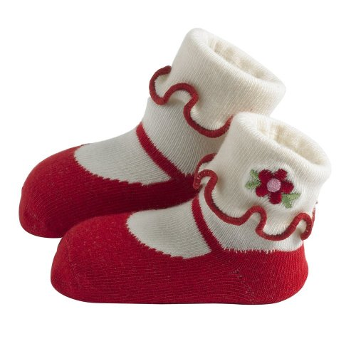 Jazzy Toes Rayon Collection Mary Janes Sock Set - Red-12-24M