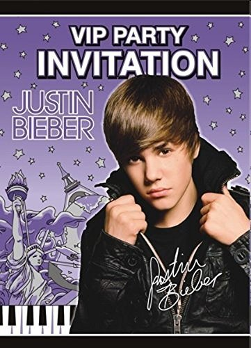 Justin Bieber Invitations w/ Env. (8ct) (Justin Bieber Party Pack compare prices)