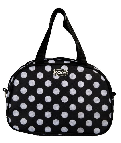 Kora K1-063 Insulated Fashion Lunch Tote, Black With White Dot
