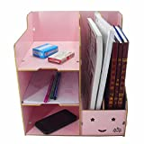 IdeaUp Wooden DIY Multifunctional Desk File Organizer Pink