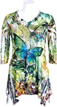"Jess N Jane ""Butterfly Forest"" Sublimation Tunic with Rhinestone Bling Accents large"