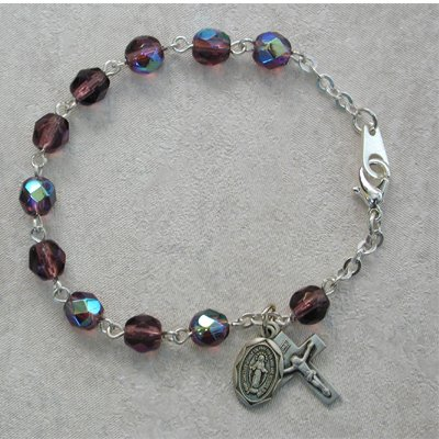 Sterling Silver Youth Girls Rosary Bracelet Dark Amethyst February Birthstone.
