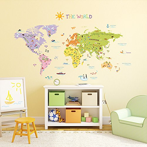 Decowall, DM-1306, The World Map Wall Stickers/Wall decals/Wall tattoos/Wall transfers