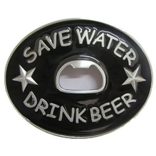 Save Water Drink Beer Bottle Opener Belt Buckle