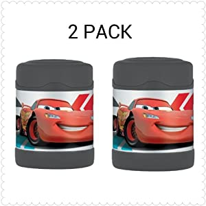 Thermos Funtainer Food Jar, Disney Cars, 10 Ounce (2 PACK)