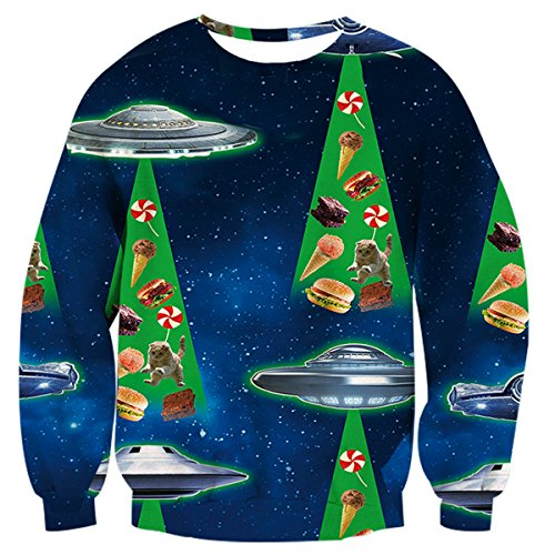 Uideazone teenager 3d shirt UFO Cat Food divertente Ugly XXS Natale maglione blu