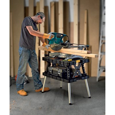 Keter 17182239 Folding Compact Workbench Work Table, 21.7 x 33.5 x 29.75 Inches