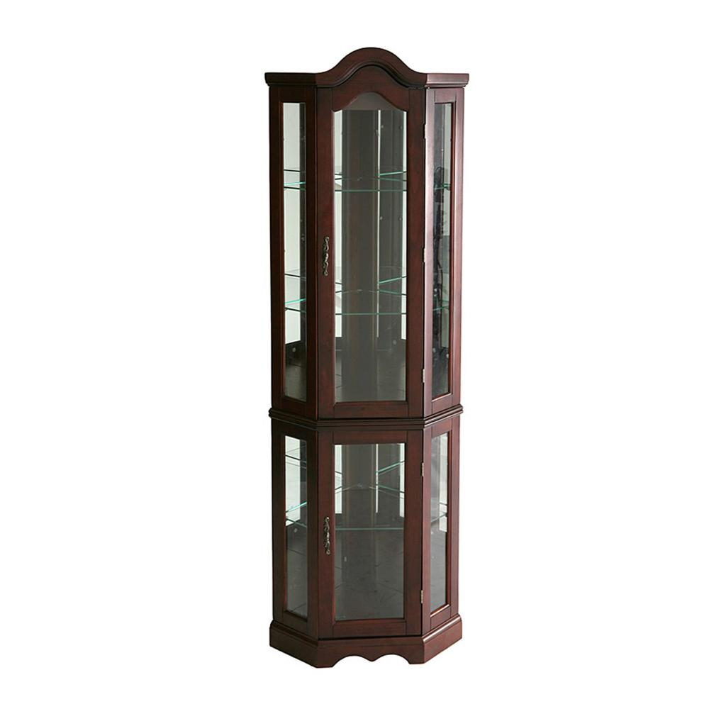 southern enterprises lighted corner curio cabinet mahogany. Black Bedroom Furniture Sets. Home Design Ideas