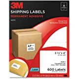 3M Permanent Adhesive Shipping Labels, 3.33 x 4 Inches, White, 600 per Pack (3100-V)