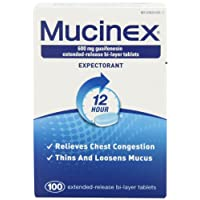 Mucinex 12-Hour Chest Congestion Expectorant Tablets, 600mg 100 Count