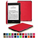 Fintie Kindle Paperwhite SmartShell Case - The Thinnest and Lightest Leather Cover for All-New Amazon Kindle Paperwhite (Fits All versions: 2012, 2013, 2014 and 2015 New 300 PPI), Magenta