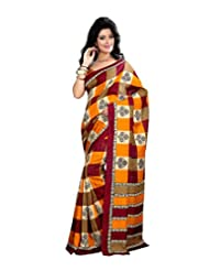Anu Designer Self Print Saree (6401A_Multi-Coloured)