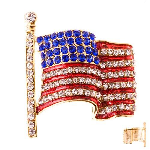 Patriotic Jewelry American Flag Crystal Rhinestone