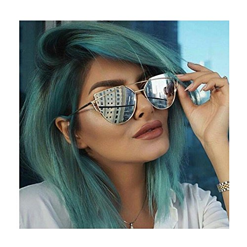mirrored womens sunglasses yy1f  SojoS Cat Eye Mirrored Flat Lenses Street Fashion Metal Frame Women  Sunglasses SJ1001 With Silver Frame/Silver Lens Health Beauty Personal Care  Vision Care