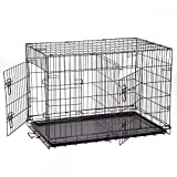 """New Extra Large 48"""" Folding Pet Dog Cat Crate Cage Kennel With Plastic Tray W/Divider"""