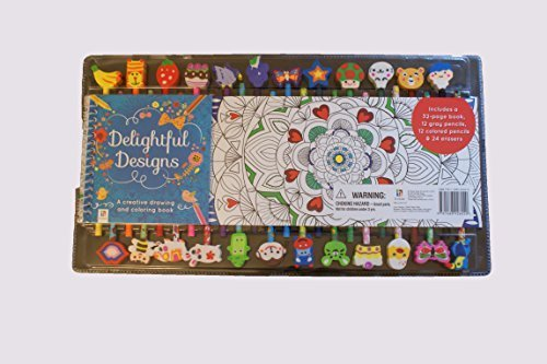 Delightful Designs Creative Drawing and Coloring Book & Pencil Set with Erasers