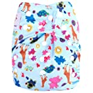"Kawaii Baby Good Night Heavy Wetter One Size Cloth Diaper with 2 Microfiber Inserts ""Happy Friends"""