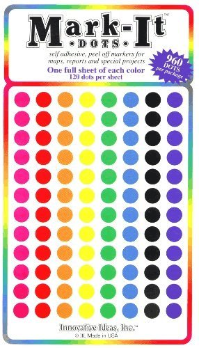"Map Dot Stickers,  1/4"" Diameter,  Assorted Colors - 1"
