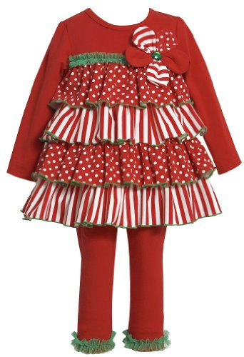 Bonnie Jean Girls Mixed-Media Tiered Christmas Holiday Dress Leggings, Red, 6
