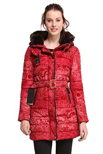 Desigual Roxana Fur Collar Padded-Giubbotto Donna    rosso 40