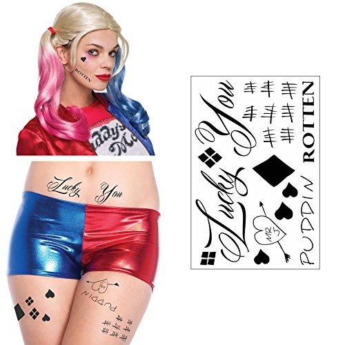 Harley Quinn Inspired Temporary Face, Waist, & Leg Tattoos - Harley Quinn Costume / Cosplay