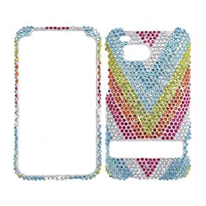 HTC DROID THUNDERBOLT 6400 Full Diamond Multi Colored V Shapes Line Hard Protector Snap On Cover Case Perfect Fit
