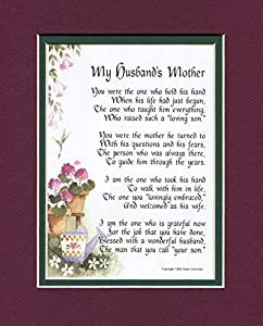 A Gift For A Mother-in-law, #87, Touching 8x10 Poem, Double-matted in Burgundy over Green And Enhanced With Watercolor Graphics.