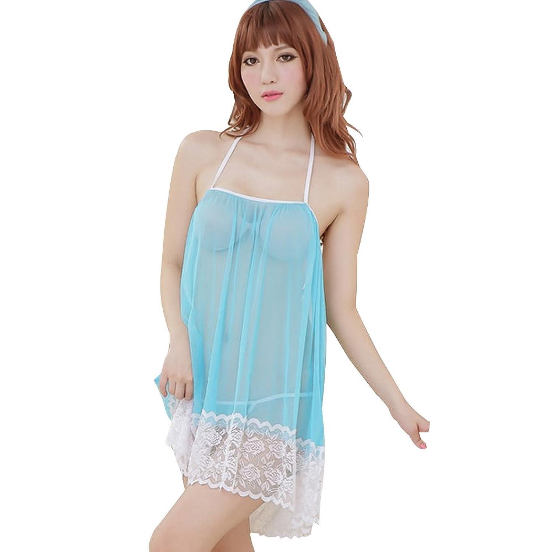 Deercon Frauen Mesh-Transparent-W?sche-Kleid Nachtw?sche Babydoll Sleepwear (blau) günstig