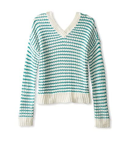 Romeo & Juliet Couture Women's V-Neck Striped Sweater