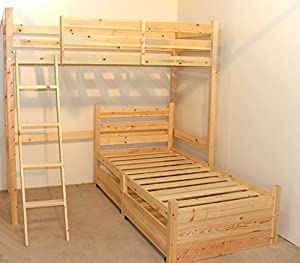 L SHAPED 3ft bunkbed - Wooden LShaped Bunk Bed for kids - with storage