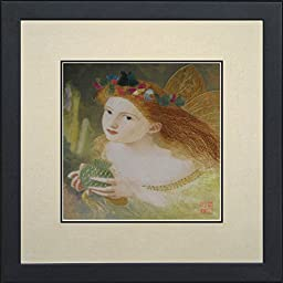 King Silk Art 100% Handmade Embroidery Portait of Fairy and Butterflies - Anderson cactus Chinese Print Framed Animal Painting Gift Oriental Asian Wall Art D¨¦cor Artwork Hanging Picture Gallery 35051WFB1