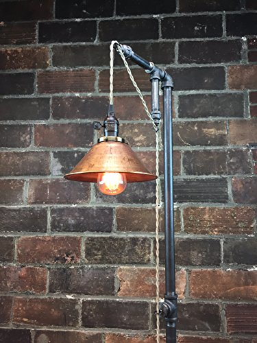 Industrial Style Floor Lamp - Pendant Edison Bulb - Copper Shade 0