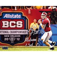 A.J. McCarron Signed Alabama Crimson Tide 16x20 NCAA Photo with Alabama 21 LSU 0...