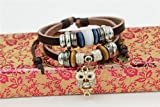 November's Chopin Unique Charm Owl Pendant Two Row Leather Adjustable Wrap Bracelet