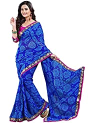 Oomph! Bandhni Print Chiffon Saree With Contrasting Dupion Silk Blouse And Embroidered Border - Indigo Blue &...